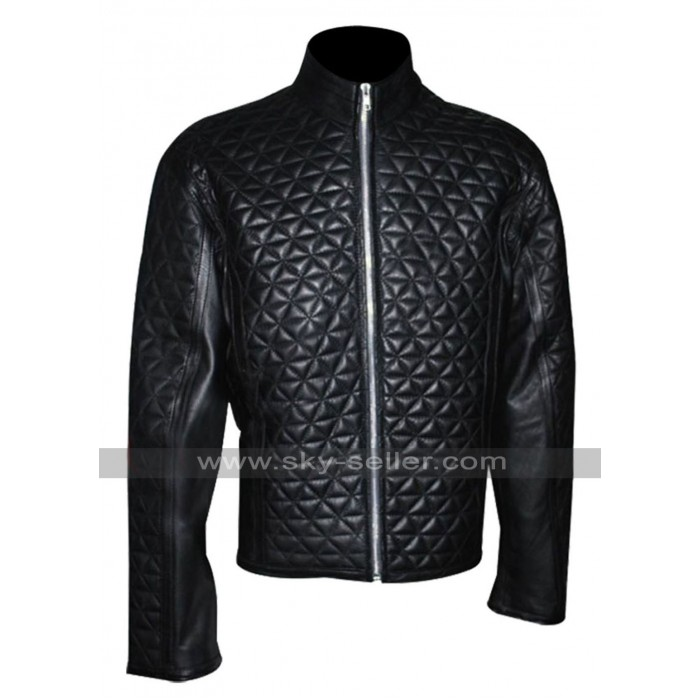 True Blood Eric Northman Black Quilted Leather Jacket