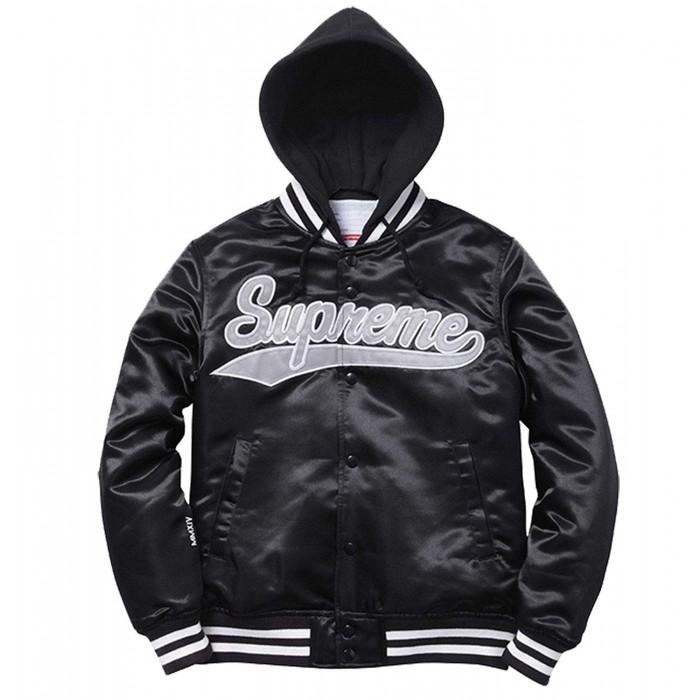 Aubrey Drake Graham Supreme Black Bomber Hoodie Varsity Satin Jacket