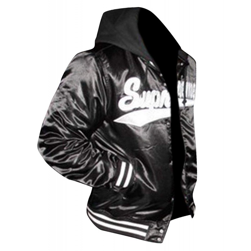 c04bd39b009 Aubrey Drake Graham Supreme Black Bomber Hoodie Varsity Satin Jacket