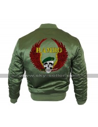 Rambo Last Blood Sylvester Stallone MA 1 Bomber Olive Satin Jacket