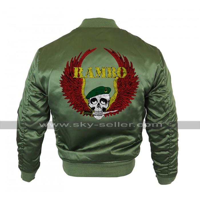 Rambo Last Blood Sylvester Stallone MA 1 Bomber Olive Satin Jacket