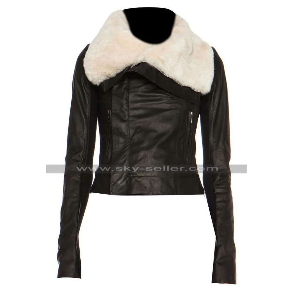 Jennifer Lopez Beaver Fur Classic Biker Leather Jacket