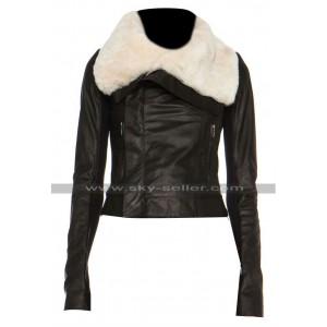 Jennifer Lopez Beaver Fur Classic Biker Leather Jacket