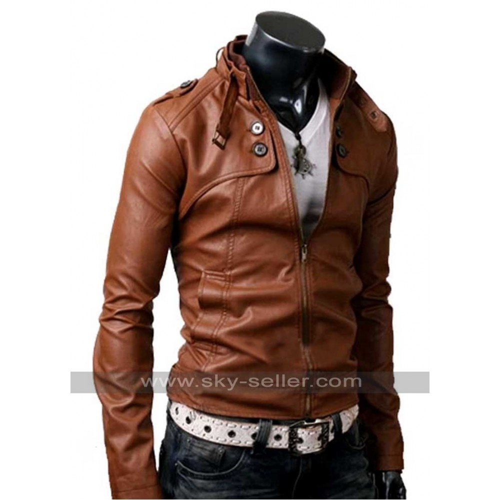 Pocket Slim Fit Men Brown Leather Jacket