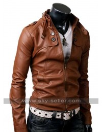 Button Pocket Slim Fit Men Brown Leather Jacket