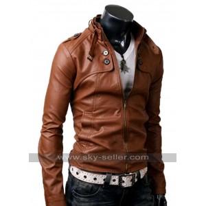 Button Pocket Slim Fit Men Brown Leather Jacket