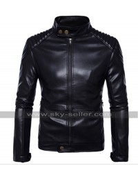 Mens Cafe Racer Slim Fit Quilted Biker Plain Black Motorcycle Leather Jacket