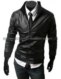 Slim Fit Men's Cross Front Black Bomber Jacket