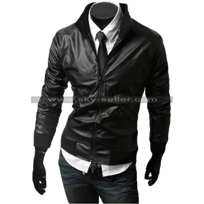 Slim Fit Men's Cross Front Black Bomber Jacket