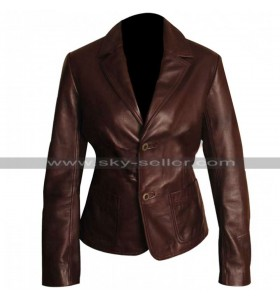 Dark Brown Slim Fit Women Leather Blazer