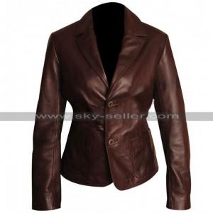 Dark Brown Slim Fit Women Leather Blazer