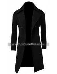Mens Casual Slim Fit Double Breasted Black Trench Coat