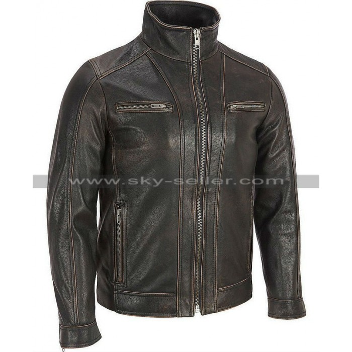 Faded Seam Black Rivet Leather Cycle Jacket