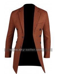Men's Fashion Slim Fit Brick Red Pea Coat
