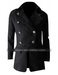 Military Style Men Slim Fit Winter Double Breasted Coat