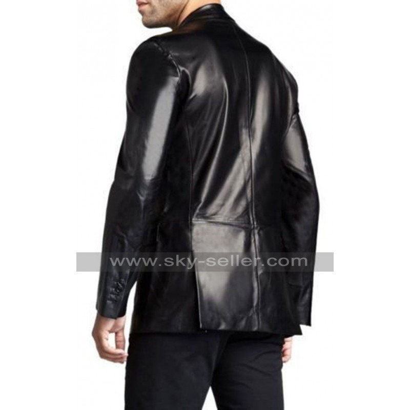 Leather Hubb Blue Leather Blazer for Men Slim Fit