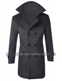 Men Windproof Slim Fit Pea Coat Overcoat
