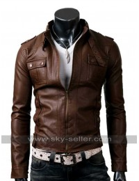 Mens Belted Collar Slim Fit Strap Pocket Brown Jacket