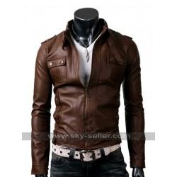 Mens Belted Collar Slim Fit Strap Pocket Brown Jacket