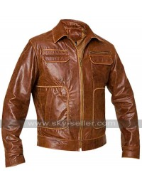 Mens Boston Vintage Brown Leather Jacket