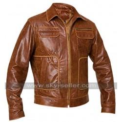 Mens Boston Vintage Brown Leather Jacket