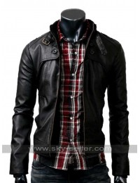 Mens Slim Fit Button Pocket Black Rider Jacket