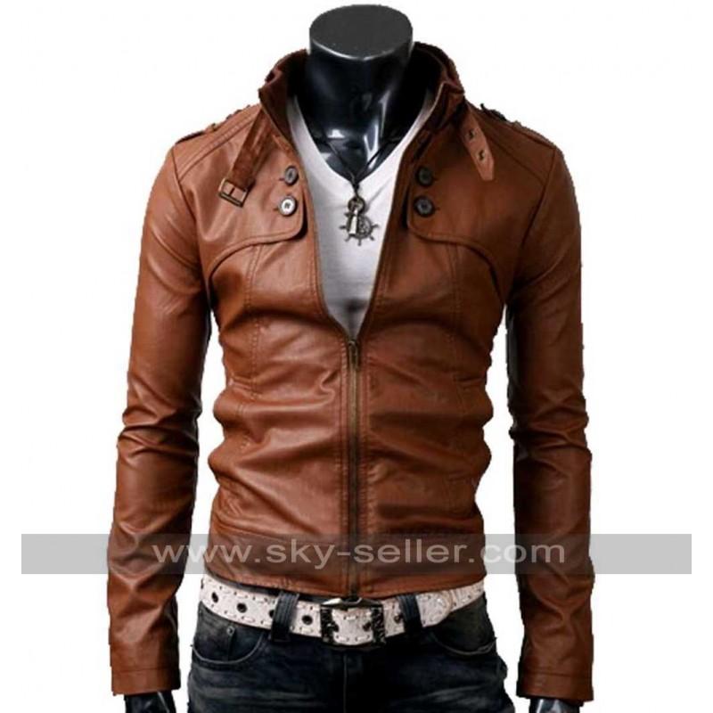 Pocket Slim Fit Men Brown Leather Jacket