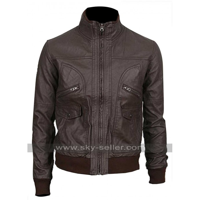 Slim Fit Dark Brown Multi Pockets Bomber Leather Jacket