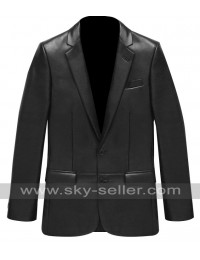 Men 2 Button Slim Fit Black Leather Blazer