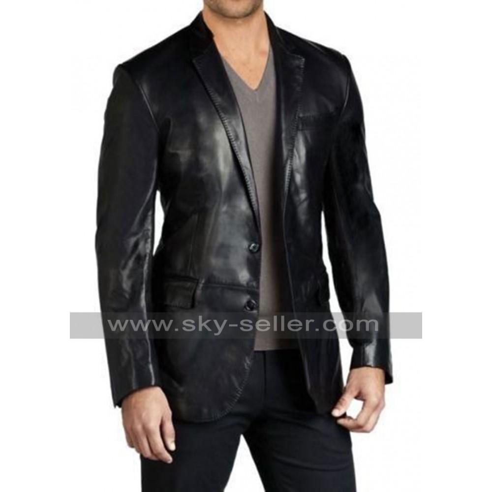 Slim fit leather jacket for men