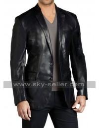 Slim Fit Black Leather Blazer for Mens