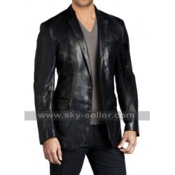 Slim Fit Black Leather Blazer for Mens