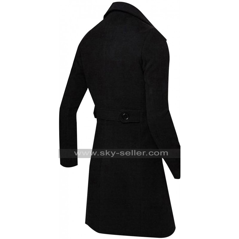 Casual Slim Fit Double Breasted Black Trench Coat