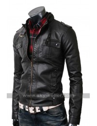 Slim Fit Mens Strap Pocket Real Black Leather Jacket