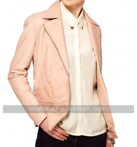 Slim Fit Women Pink Blazer Style Leather Jacket
