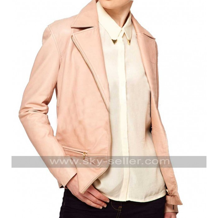 Slim Fit Women Pink Blazer Style Leather Jacket