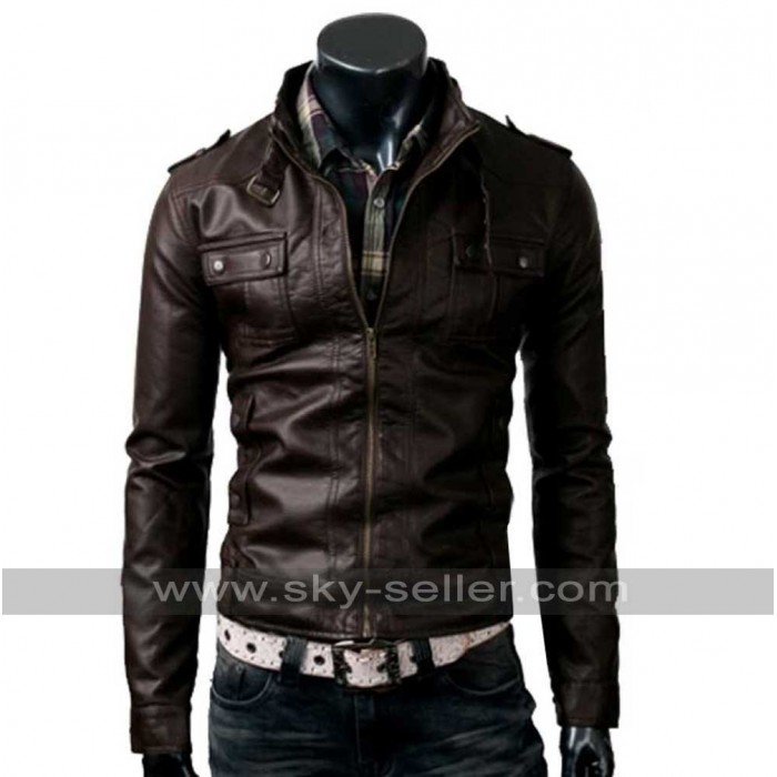 Strap Pocket Belted Collar Slim Fit Dark Brown Jacket