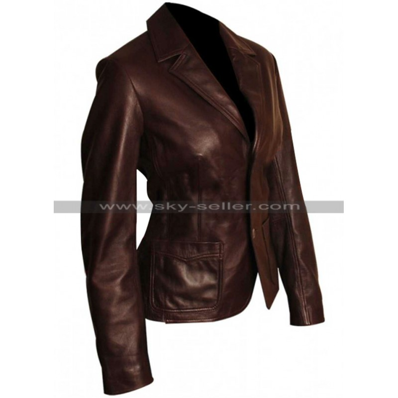 Brown Slim Fit Women Leather Blazer