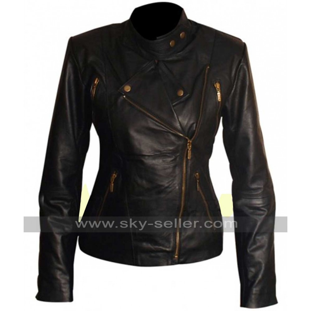 Women Slim Fit Motorcycle Black Leather Jacket