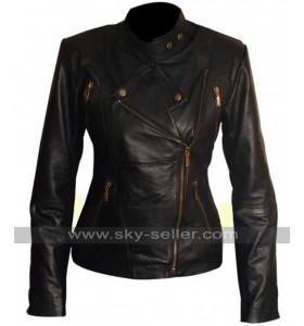 Women Slim Fit Motorcycle Black Leather Jacket