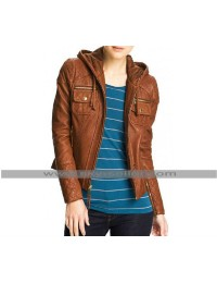 Women Slimfit Brown Hooded Biker Leather Jacket