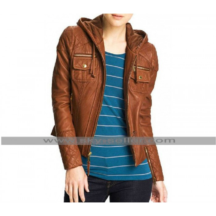 Women Slimfit Brown Hooded Biker Leather Jacket