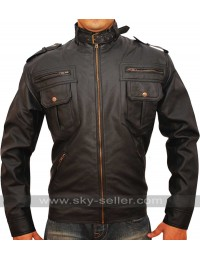 Zipper Pocket Slim Fit Mens Rider Leather Jacket