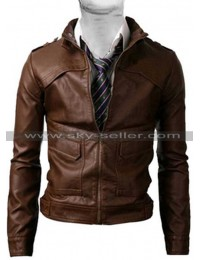 Zipper Strap Light Brown Slim Fit Vintage Biker Jacket