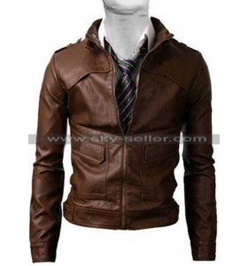 Zipper Strap Light Brown Slim Fit Vintage Biker Jacket