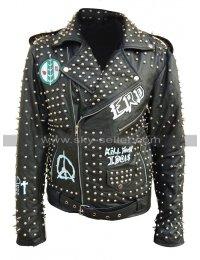 Mens Pop Rock Kill Your Idol Punk ERD Studded Black Leather Jacket