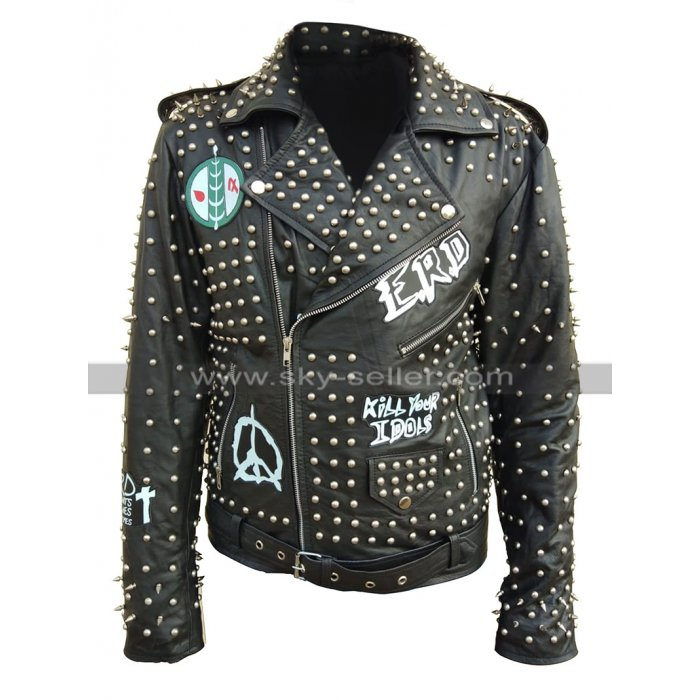 Mens Pop Rock Kill Your Idol Punk ERD Studded Black Leather Jacket