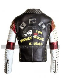 Mens Dead Mickey Mouse Brando Punk Spikes Studded Retro Motorcycle Leather Jacket