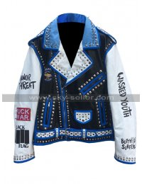 Mens Wasted Youth Minor Threat The Misfits Commode Logo Studded Leather Jacket