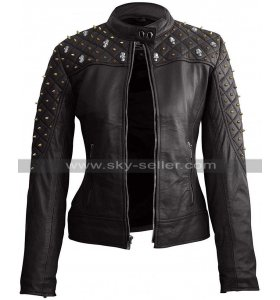 Womens Punk Metal Skull Studded Quilted Biker Black Motorcycle Leather Jacket